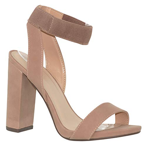 MVE Shoes Women's Elastic Ankle Strap Open Toe Block Heeled Sandal, Ceylon Taupe - Heel Elastic
