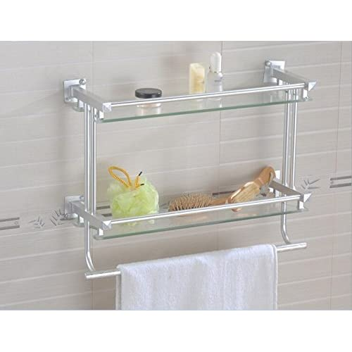 bian space aluminum double glass shelf towel rack bathroom - Bathroom Accessories Glass Shelf