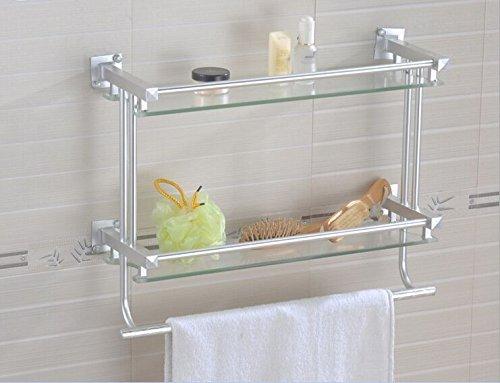 BIAN-Space aluminum double glass shelf Towel rack bathroom ...