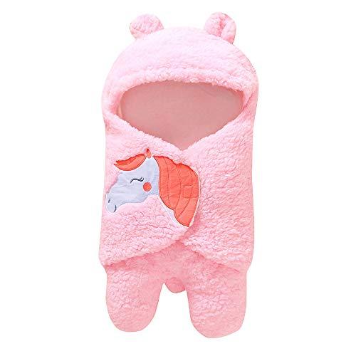 - Moonper Cartoon Swaddle Blanket for Newborn Infant Baby Horse Receiving Sleeping Bag Muslin Wrap Sleepsack (Pink)