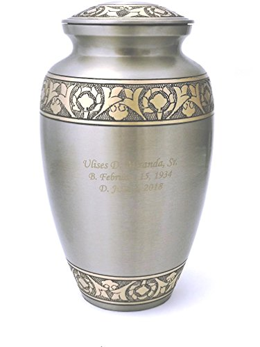 NWA Customized Platinum and Gold Funeral Cremation Urn, Adult Size With -
