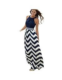 2017 Long dresses Changeshopping Women BOHO Beach sleeveless Summer Dresses