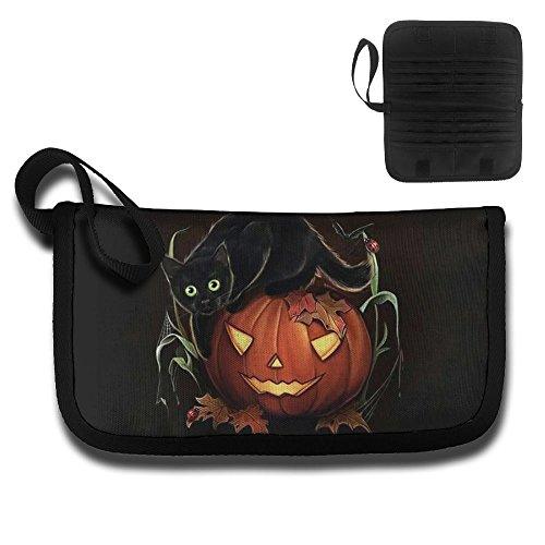 Card Holder Cartoon Halloween Pumpkin Lantern And Black Cat Hip Hop Document Organizer Purse -