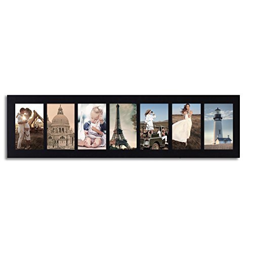Adeco [PF0273] Black Wood Hanging Picture Photo Frame, Divided, 7 Openings, 4x6