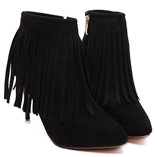 sposa punta Stivaletti 9 delle Scarpin Eu ginnastica 34 40 in donne sposa da Scarpe caviglia da Seude tacco punta da Scarpe di Scarpe 5cm Scarpe polso pelle Stivali di Black da Size qwTIq7r
