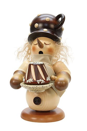 German Incense Smoker Snowman with cake - 24cm / 9 inch - Christian Ulbricht