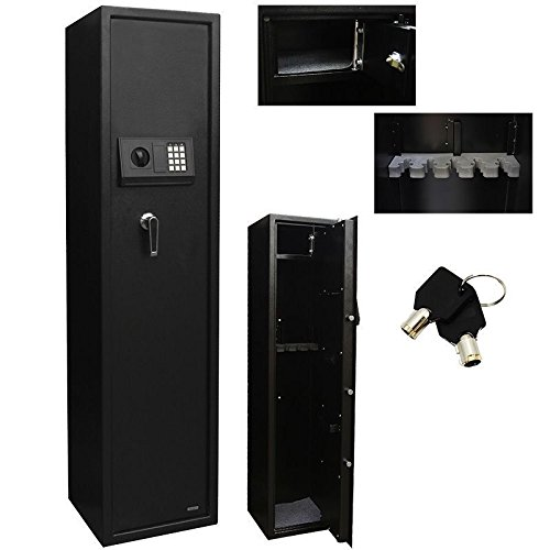 5 Rifle Eletronic Lock Steel Lockbox Firearm Cabinet Safe Gun Lockbox Storage HD