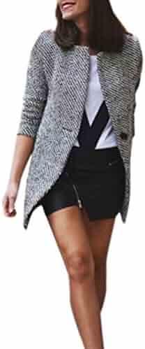 72f4d3b6d8 Women Slim Jacket Open Front Cardigan Winter Warm Coat Lapel Trench Parka  Casual Overcoat Outwear Solid