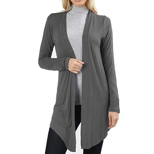 Cardigan Unie Longues Bringbring Casual Gris Top Couleur Ample Automne Femme Cardigan Manches 8qwEU7xax