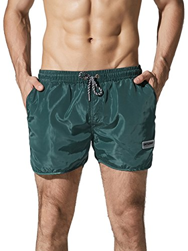 Neleus Men's Runner Sports Beach Shorts Swimming Trunks with Pockets,708,Dark Green,L,Tag - Shorts Triathlon Swimming