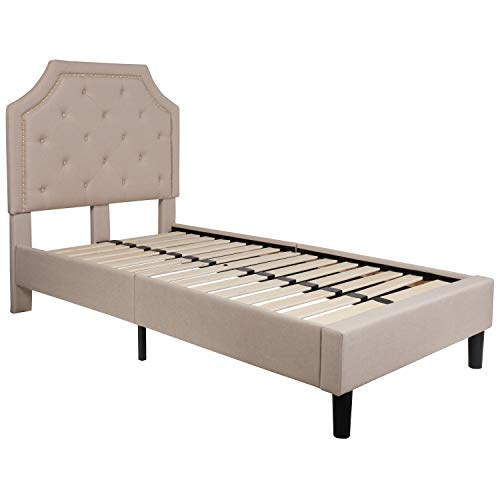 - Flash Furniture Brighton Tufted Upholstered Twin Size Platform Bed in Beige Fabric