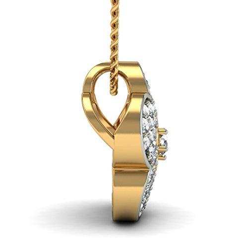 14K Or jaune 0,36CT TW Round-cut-diamond (IJ   SI) Pendentif