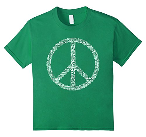Kids Peace Sign T-shirt Love All World Peace Tshirt 10 Kelly Green Kids Peace Sign