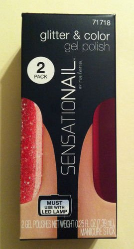 Sensationail Glitter & Color Gel Polish 71718 Red Glitter & Royal Ruby (Net Wt 0.25 Oz) by Nailene (Ounce 0.125 Bag)