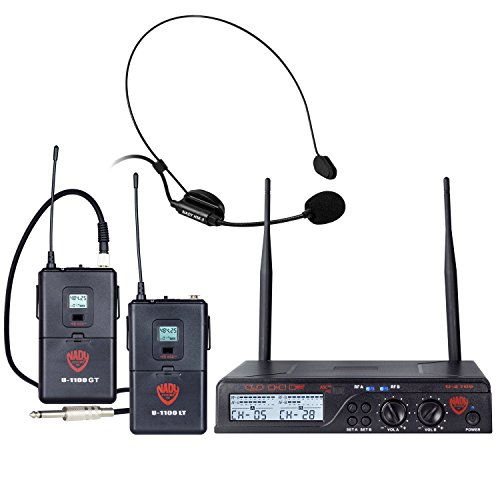 (Nady U-2100 Dual Combo HM-GT 200-Channel UHF Wireless Headset Microphone and Instrument/Guitar System)