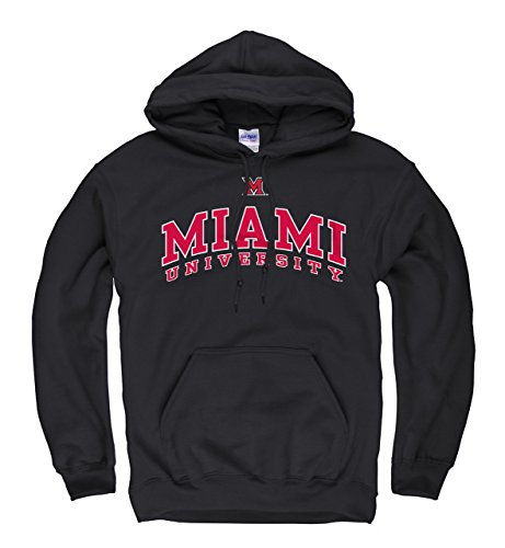 Miami Redhawks Icon Arch Hooded Sweatshirt - Black , Small