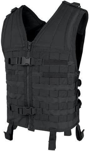 Photo of the Condor Modular Vest (Black) with two front snap buckles, and zipper-type closure.