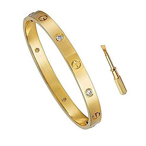 - K.Klemm Women's Fashion Mosaic Crystal Love Bracelet - Screws Designs Titanium Steel Bracelets - Gift Box Packaging (Gold, 6.5)
