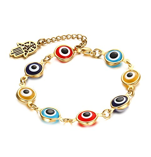 Rubber Steel Stainless Bracelets Leather (HUANIAN Colorful Azure Stone Evil Eye Hand of Fatima Hamsa Bracelet for Women,Adjustable 7.5