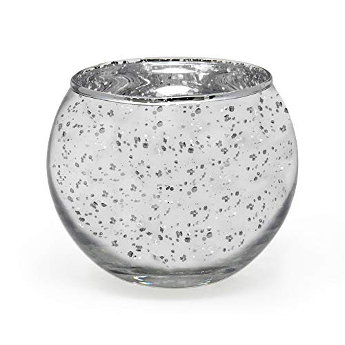gbHome GH-6832SL75 Votive Tea Light Candle Holder, Speckled Silver Metallic Finish, Lead Free Thick Mercury Glass, Set of 75, 2