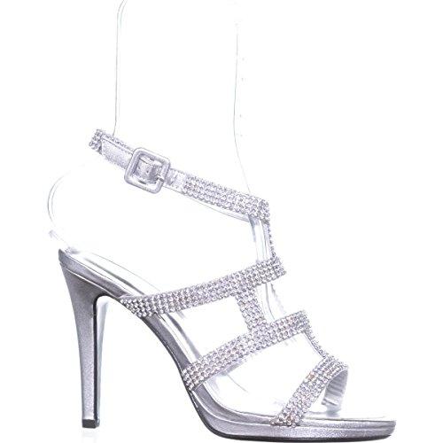 Metallic Evening Caparros Sandals Rhinestone Elyzabeth Strappy Silver wRqOBY1