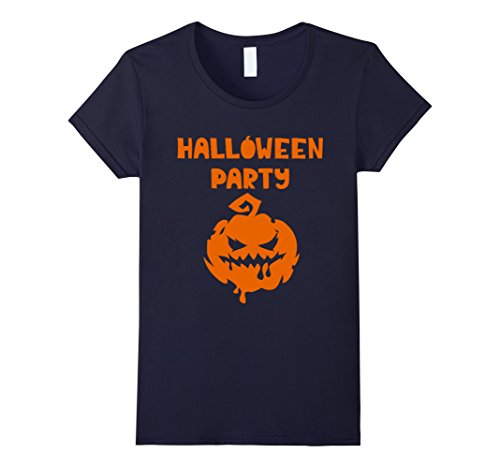 Womens Halloween Party - Smiley Face Pumpkin Scary - Costume XL Navy