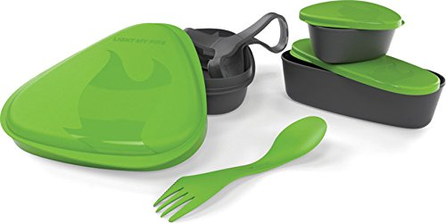Light my Fire 6-Piece BPA-Free Lunch Kit with Plate, Bowl, Storage Boxes and Spork, Green