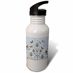 3dRose Russ Billington Designs - Teasel Plant with Bees and Butterflies in Lavender Blue White and Brown - Flip Straw 21oz Water Bottle (wb_262297_2)