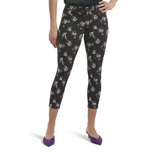 - HUE Women's Essential Denim Jean Capri Leggings, Assorted, Abstract Floral/black, XL
