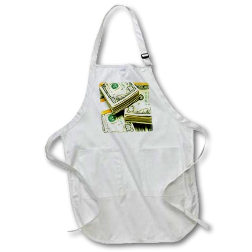 22 by 24-Inch 3dRose apr/_5774/_2 Money One hundred dollars Medium Length Apron with Pouch Pockets