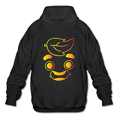 Mens   Boys Gold Guava Juice Face Hooded Sweatshirt Black Medium