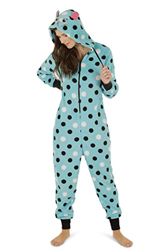 Totally Pink Women's Plush Warm Cozy Character Adult Onesie/Pajamas/Onesie (Large, Blue Cat) -