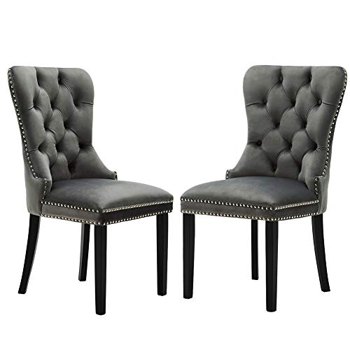 Elegant Tufted Rustic Dining Chairs Formal Retro Velvet Dining Room Chair Set of 2 with  sc 1 st  Amazon.com & Amazon.com : Elegant Tufted Rustic Dining Chairs Formal Retro ...