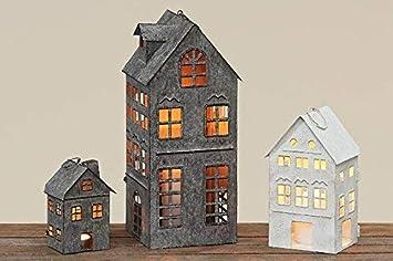 Tamia Home Laterne Kerzenhalter Außen/Innen Firenza Haus Motiv Eisen Grau  Weiss 4029300 (
