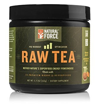 Natural Pre Workout Powder, Raw Tea Peach Flavor - Best Metabolism Booster for Men and Women Made from 15 Premium Herbs and Superfoods *No Jitters Energy Supplement* by Natural Force, 5.75 Ounce