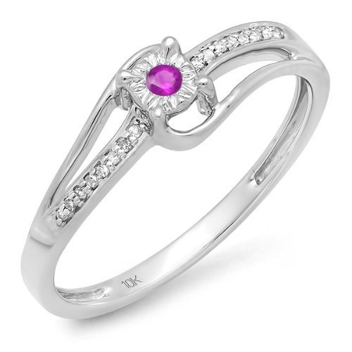 Dazzlingrock Collection 10K Round White Diamond & Pink Sapphire Wave Ladies Bridal Promise Engagement Ring, White Gold, Size ()