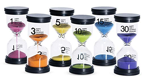 Sand Timer 6 Colors Hourglass 1/3/5/10/15/30 minutes Sandglass Timer Sand Clock for Kids Games Classroom Kitchen Home Office Decoration (Pack of 6)
