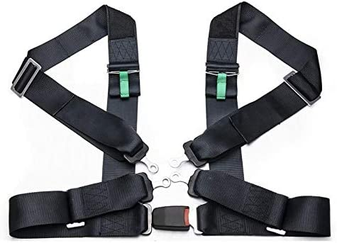 Universal Car Vehicle 4Point Racing Sport Safety Harness Seat Belt Bolt In Black