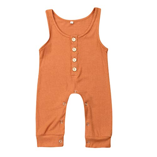 RUIVE Kids Footies Toddler Baby Girls Pure Colour Straps Jumpsuit Romper Button Suspender Bodysuit Summer Sleeveless Clothes Orange ()