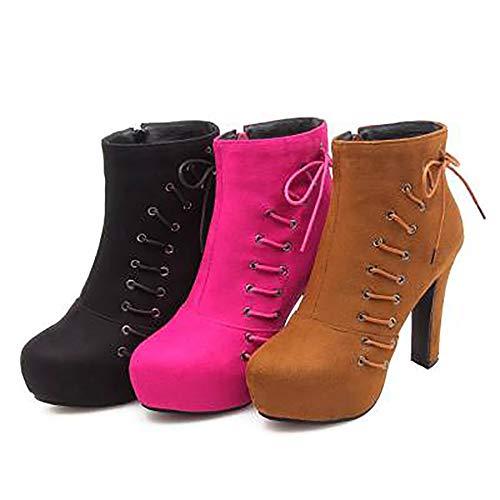 High Ankle Boots Fashion Women Heel Coolcept Black Zipper TqHFEF