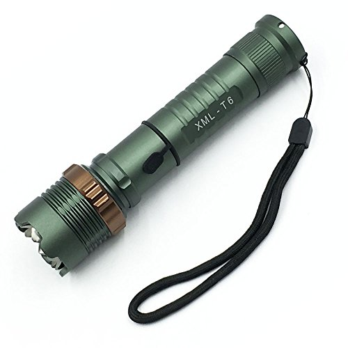 Super Bright 2000 LM Cree XM-L T6 LED 5 modes Lighting Flashlight Rechargeable Focus Zoomable Tactical Flashlight Torch by Threetoo