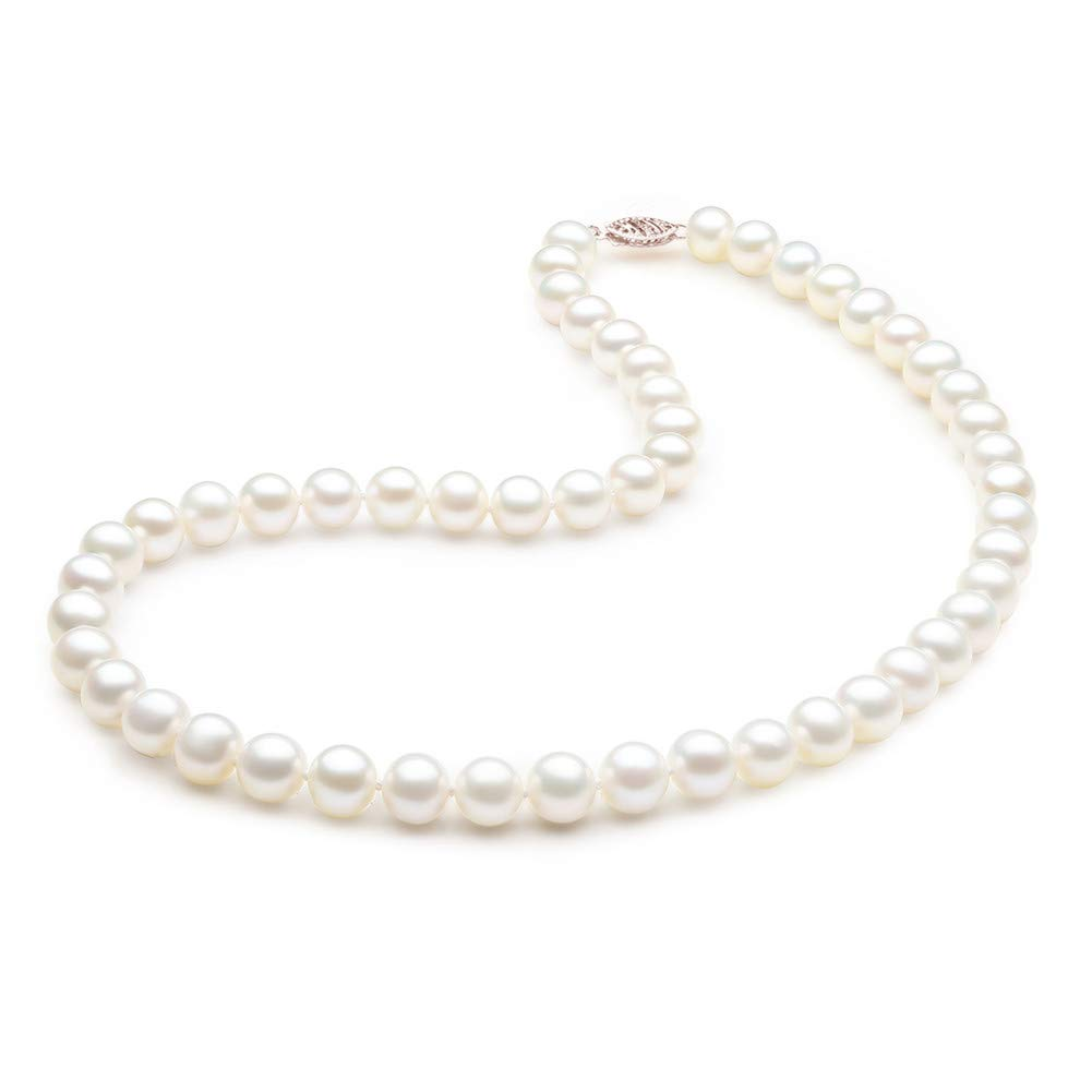 AAA Quality MABELLA 14K Solid White//Yellow Gold 8-9mm Round White Freshwater Cultured Pearl Necklace
