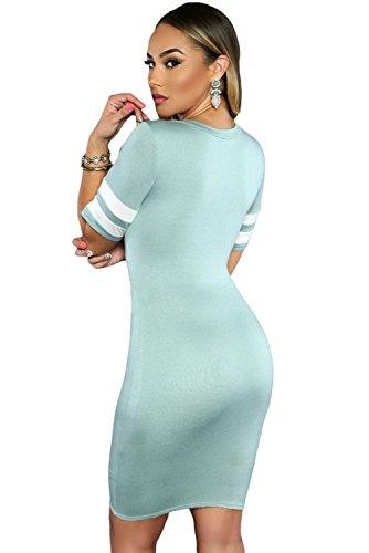 Verde rayas mangas bodycon vestido Club Wear TAMAÑO UK/M 10–�?2