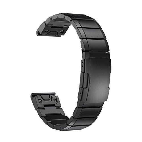 Price comparison product image Owill Genuine Stainless Steel Bracelet Quick Replacement Fit Band Strap Wristband For Garmin Fenix 5 GPS Watch,  Band Length: 195MM (Black)