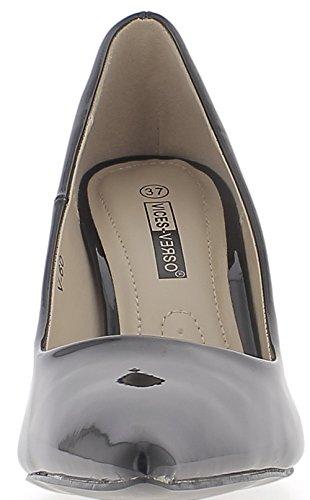 ChaussMoi barnizado de stilettos de 8cm Tacón Bombas Negro