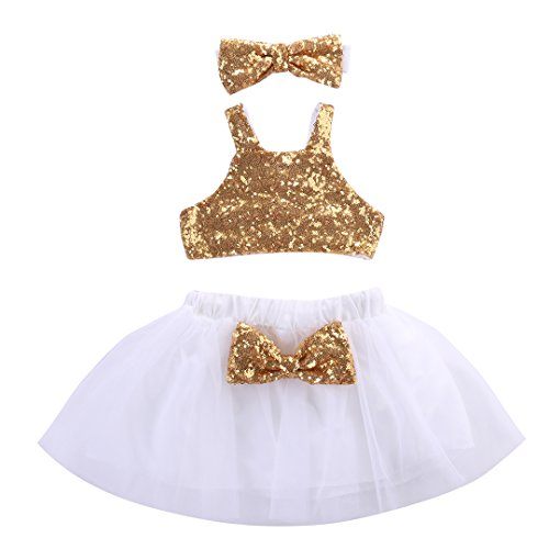 Toddler Baby Girls Gold Sparkle Sequins Design Tops Tutu Skirt and 3 Pcs Outfit Set (2-3 years, (Pretty Girl Outfits)