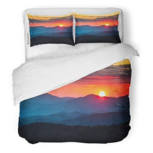 Semtomn Decor Duvet Cover Set Twin Size Clingmans Dome Great Smoky Mountains National Park Scenic Sunset 3 Piece Brushed Microfiber Fabric Print Bedding Set Cover -