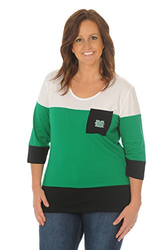 UG Apparel NCAA Marshall Thundering Herd Women's Plus Size Colorblock Top, Kelly Green/White, 2X - Marshall Thundering Herd Pocket