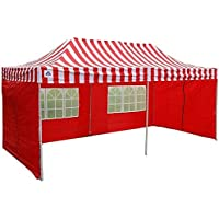 10'x20' Pop up 6 Walls Canopy Party Tent Gazebo Ez Red Stripe - E Model By DELTA Canopies