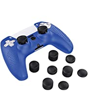 MoKo Fodral för PS5 kontroll hud, silikonfodral skal med 8 tumgrepp kepsar, stötdämpande anti-repor fodral kompatibel med Sony PlayStation 5 DualSense Wireless Controller 2020, blå